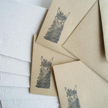 """Lot of 6 - 6x4"""" Llama Poo Paper Letter Set - No. 10"""