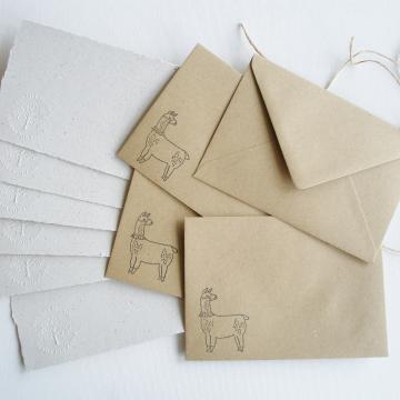 """Lot of 6 - 6x4"""" Llama Poo Paper Letter Set - No. 7"""