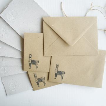 """Lot of 6 - 6x4"""" Llama Poo Paper Letter Set - No. 6"""